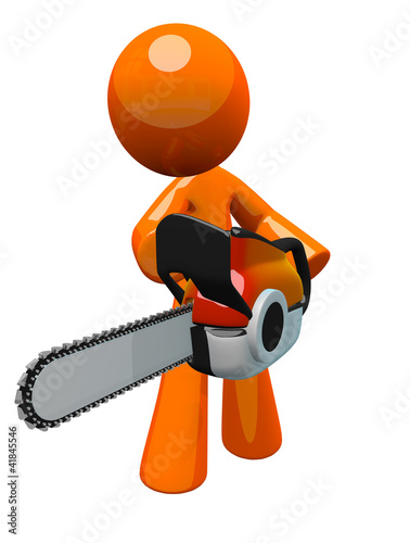 3d Orange Man with Chain Saw, Perspective View