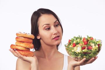 Dilemma: Sweet cakes or healthy salad?