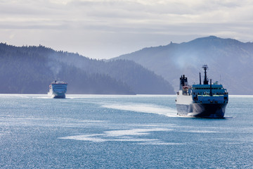 Two car ferries in Marlborough Sounds, New Zealand