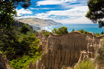 The Cathedrals eroded clay cliff of Gore Bay, NZ