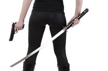 Young woman with katana (3)