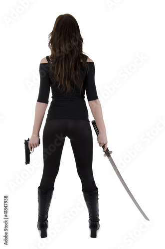 Fototapeta Young woman with katana (4)