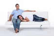 Couple on white sofa