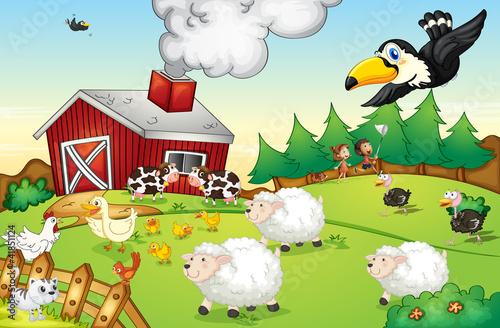 Deurstickers Boerderij Farm scene