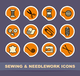 Sewing and needlework icons on stickers poster