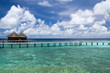 Maldives,Long bridge and water villas