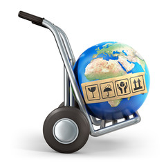 Hand truck transporting the earth planet
