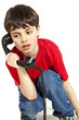 portrait  boy on the phone, isolated on white background