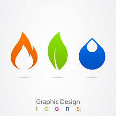 graphic design drop leaf flame logo.