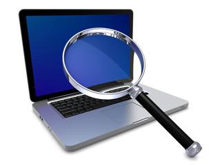 Laptop mit Lupe