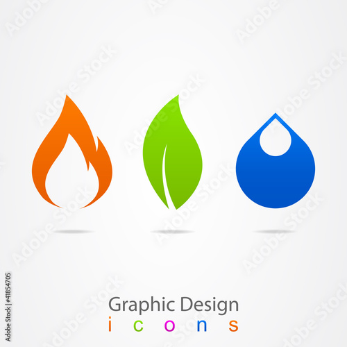 graphic design drop leaf flame logo.