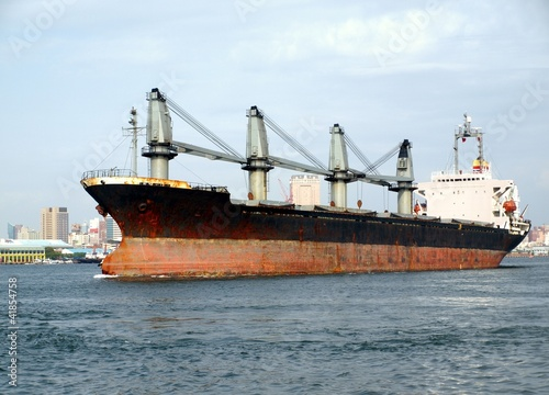 Large Freighter Leaves Kaohsiung Port