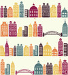 seamless pattern with city silhouette
