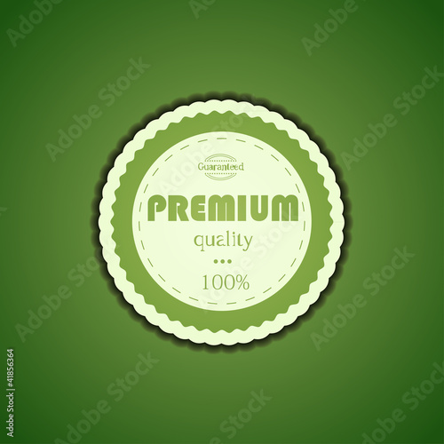 Vector premium quality icon on green. Eps10