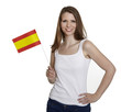 Attractive woman shows flag of spain and smiles