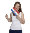 Attractive woman shows flag of Croatia and smile