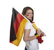 Female fan with flag