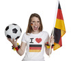 Woman screams with german Flag and Football