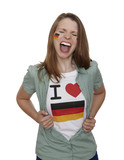 Attractive woman with german fan t-shirt screams