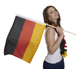 Attractive female fan shows german flag