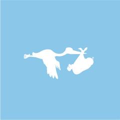 Storch mit Baby Silhouette