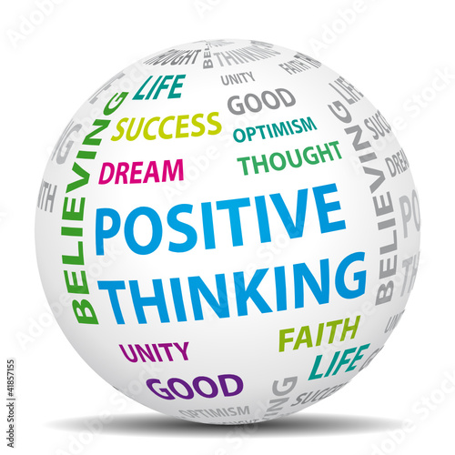 Positive thinking world. Vector icon.