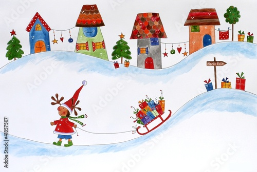 Leinwanddruck Bild Christmas card. Artwork