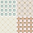 set of four seamless pattern with abstract retro ornaments