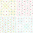 set of colorful seamless patterns with stitched ornaments