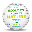 Green ecological and natural world. Vector icon.