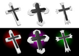 Metallic Christian Cross Vector Illustrations