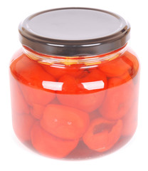 Peppadews in glass on white
