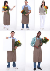 Montage of several florists