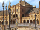 Bridge and ornate building in Plaza de Espana, Seville, Spain