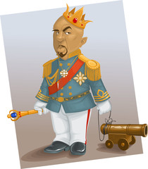 the haughty king, with a toy gun