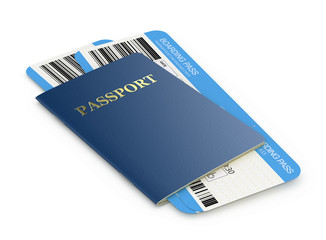 Passport and airline boarding pass tickets