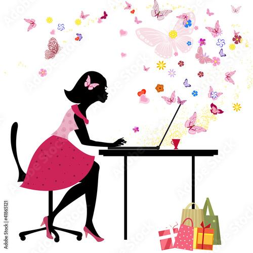 Foto op Canvas Bloemen vrouw Girl loves to shop online