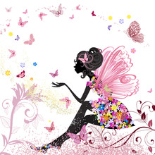 Flower Fairy in der Umgebung von Schmetterlingen