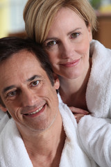 Portrait of a couple in their bathrobes