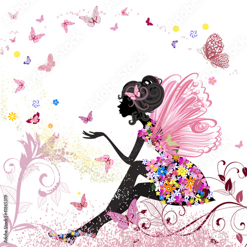 Poster Bloemen vrouw Flower Fairy in the environment of butterflies