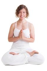 Frau, glücklich beim Yoga