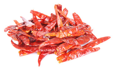 Chili peppers red dried on white