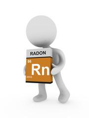 3d man carry a radon box