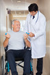 Doctor Giving Hand Weights To The Senior Man Sitting In a Wheelc