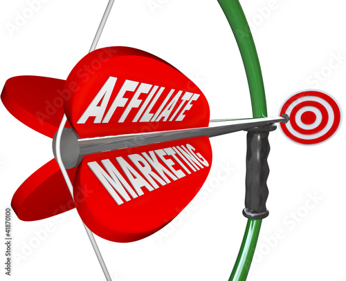 Affiliate Marketing Bow and Arrow Aimed at Target