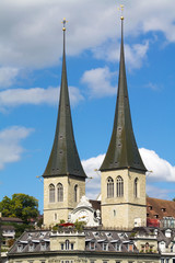 Twin towers of the church of St. Leodegar, Lucerne