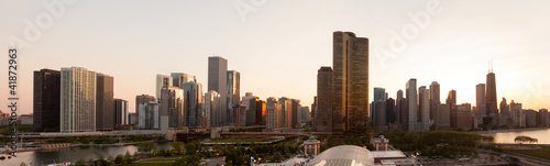 Aluminium Grote meren Sunset over Chicago from Navy Pier