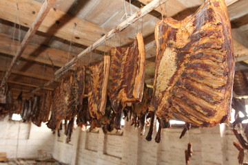 bacon is drying on the attic