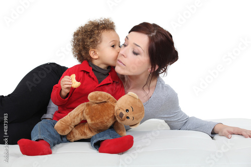 Young woman and adorable little boy