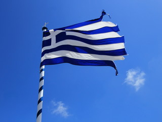 Teared up greek flag